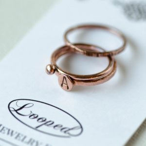 Copper Initial Ring Personalized Stacking Rings